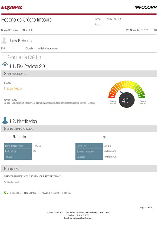 Ejemplo de reporte infocorp. Como saber si estoy en Infocorp